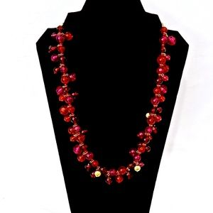 KATE SPADE~cluster beaded~LONG NECKLACE~RED/PINK